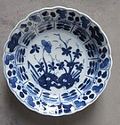 Chinese blue and white porcelain dish 17th/18th century