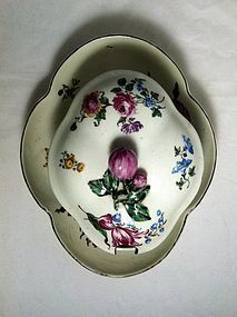 Mennecy sugar bowl, cover and stand c.1750