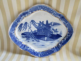 Blue printed  English porcelain teapot stand c. 1800