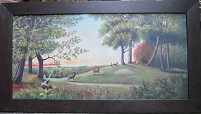 Oil on canvas �A. Taylor� of deer in Valley