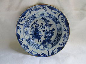 A Chinese blue & white 18th c. deep dish