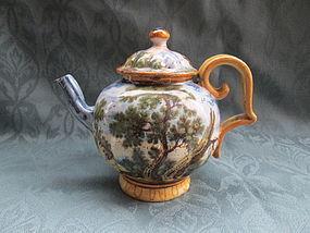 Castelli Maiolica teapot Italian c.1750