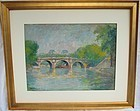 Orr, Louis. American 1879-1961 pastel Seine in Paris