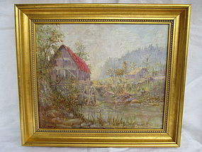 20th century oil of a mill signed W.E. Loyer