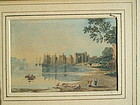 Watercolor, Conway Castle, early 19th century John Varley?