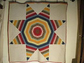 Star of Bethlehem pieced cotton quilt American c. 1900