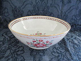 Porcelain punch bowl with roses, Italian? late 18th c.