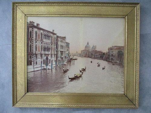 Very large hand colored albumen photograph Venice c. 1890
