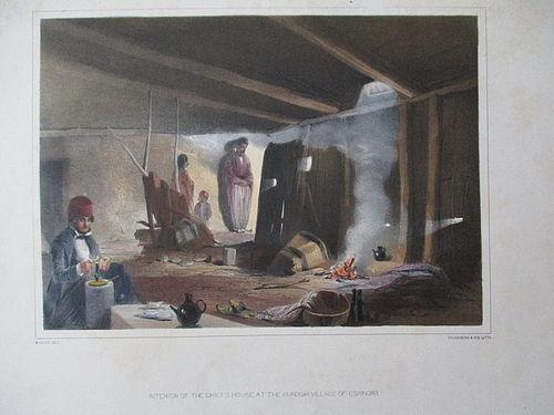 Lithograph Kurdish Chief�s House published London 1852