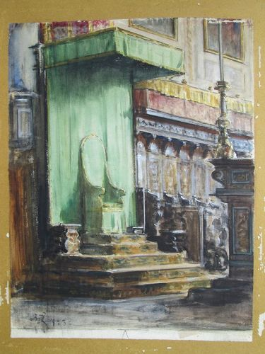 Monogramed 1923 watercolor of the Bishop�s Seat in Perugia Italy
