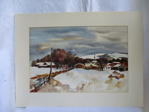 Watercolor farm in winter probably in Ohio by R. Zoellner 1938