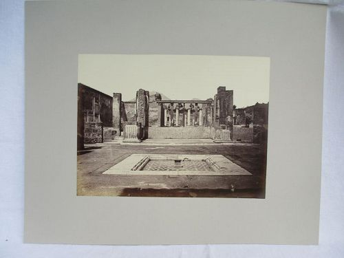 Albumen photograph of shallow pool at Pompei Italy. Circa 1870