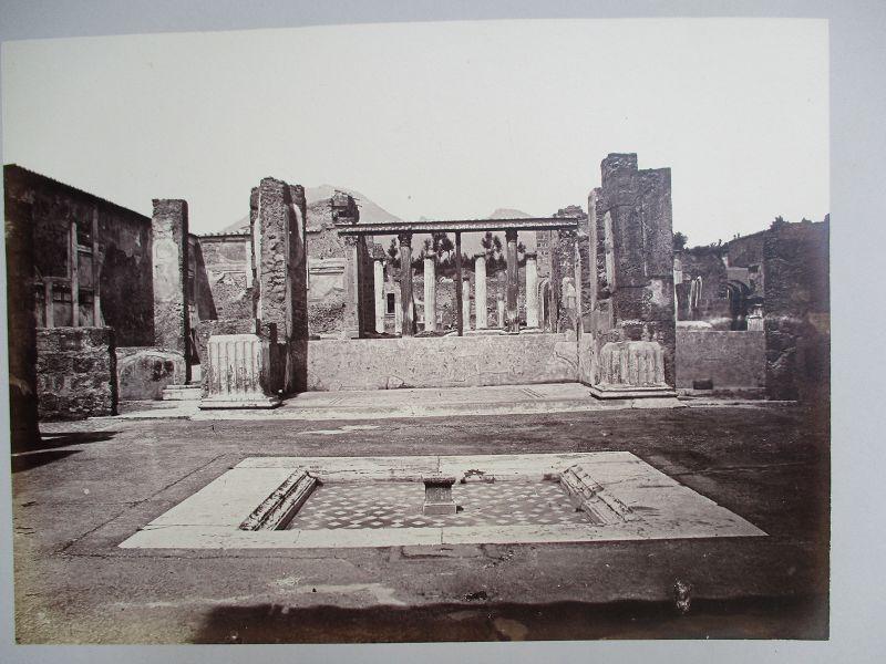 Albumen photograph of shallow pool at Pompei Italy. Circa 1870