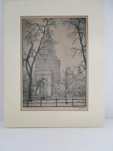 Leon Dolice etching Washington Square Park New York