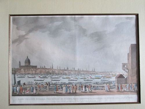 Large print of Lord Nelson funeral procession on Thames 1806. Turner