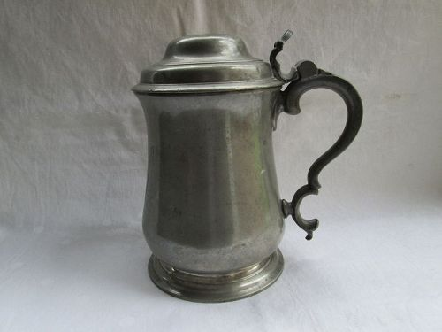 A lidded pewter tankard, John Townsend later 18th century