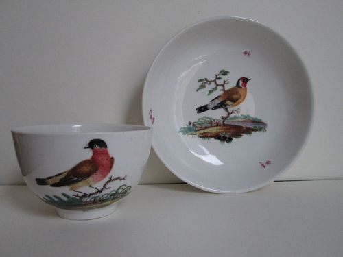 German ornithological porcelain cup and saucer c. 1780 Ansbach ?