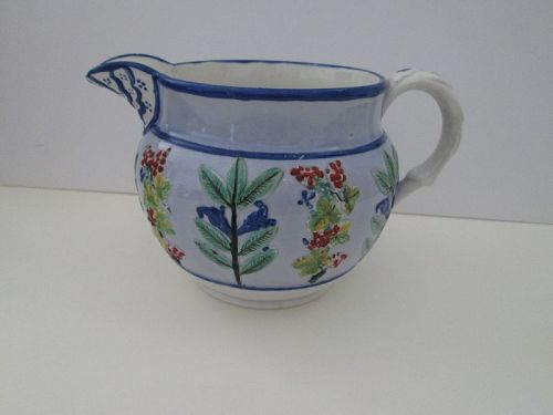 Pale blue slip Pratt Ware pitcher with sprigged decoration c. 1810