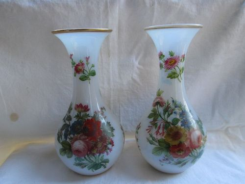 Pair French flower painted opaque opaline vases c.1850