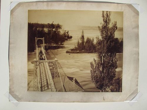 Very large albumen photograph of a bridge near Niagara Falls c.1890