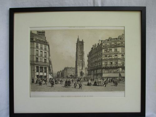 Mid-19th Century French Lithograph of Tour St. Jaques, Paris