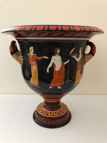 Porcelain campagna shaped urn decorated with classical figures c. 1850