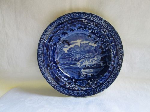Dark blue Staffordshire soup plate, Clews, c. 1825 St Catherine�s Hill