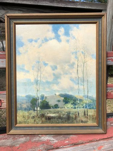 Framed oil on board spring landscape by E.L. Smythe, American