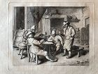 David Teniers II engraving of peasants at a table with violin 17th cen