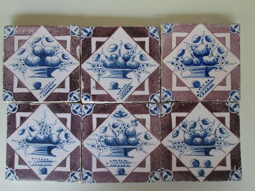 Set of 6 Delft wall tiles, manganese and blue of fruit baskets c. 1750