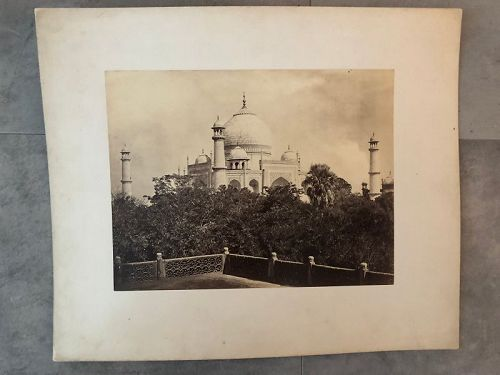 Albumen photo of the Taj Mahal from a balcony c. 1875 Frith