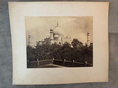 Albumen photo of the Taj Mahal from a balcony c. 1875 Frith