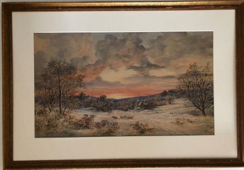 George J. Tribe American watercolor winter scene dated 1910