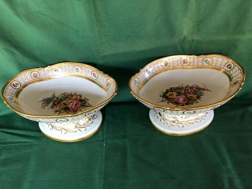 Pair large Old Paris large compotes circa 1800, Locre