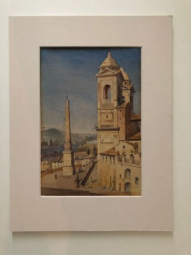 Watercolor of Trinita dei Monti Rome by Augustus Hare, 1866