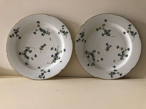 Pair sprig decorated plates. Locre, Old Paris, late 18th century