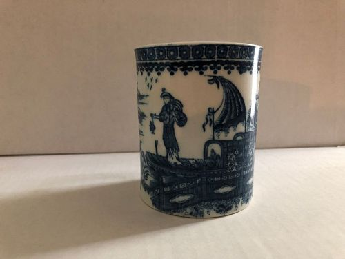 Caughley Fisherman pattern porcelain mug c. 1790