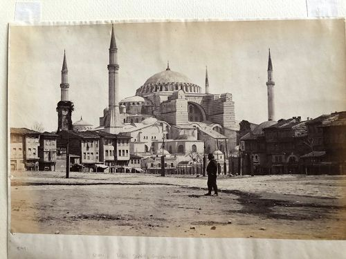 Albumen photo of the exterior of Hagia Sophia, Istanbul c. 1880