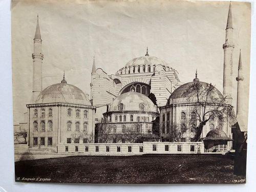 Oversize Albumen photo exterior Hagia Sophia by P. Sebah c.1880
