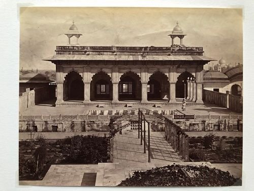 Albumen photo of Kas Mahal Agra India c. 1870 Rust