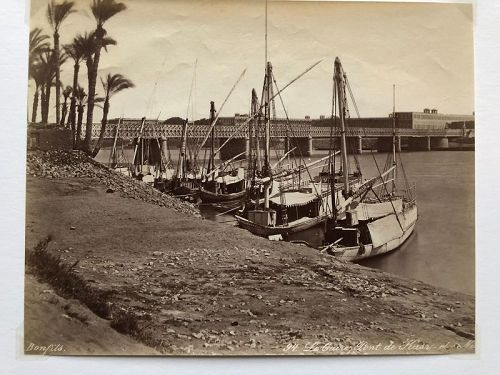 Albumen Photo Nile River boats below Cairo bridge Bonfils c. 1880