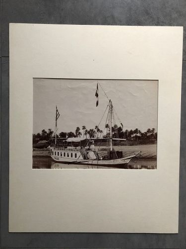 Albumen photo of Nile riverboat Olga, circa 1880