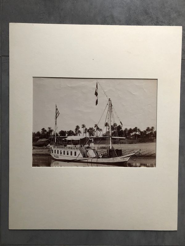 Albumen photo of Nile riverboat Olga, circa 1880