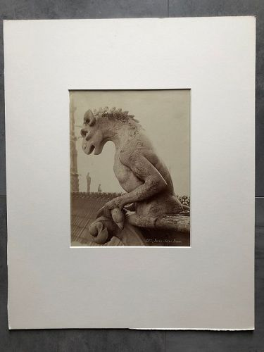 Albumen photo of a gargoyle Notre Dame Paris c.1880