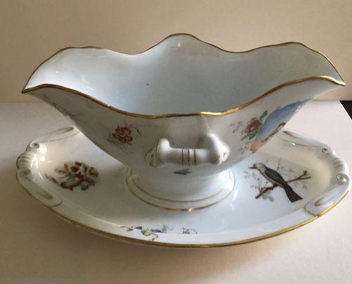 Double spout porcelain sauceboat, Kuznetsoy circa 1880