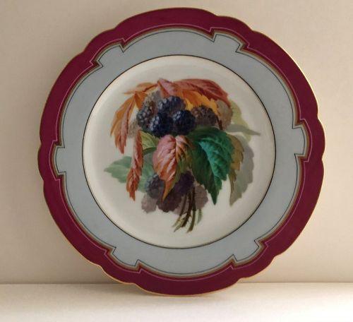 Porcelain blackberry decorated dessert plate Lahoche & Pannier c. 1860