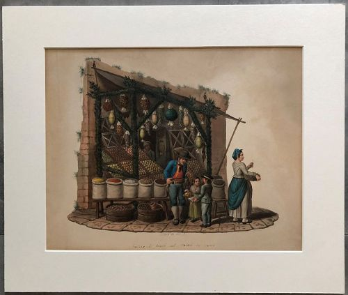 Watercolor of a fruit seller in Naples by M. de Vito c.1850