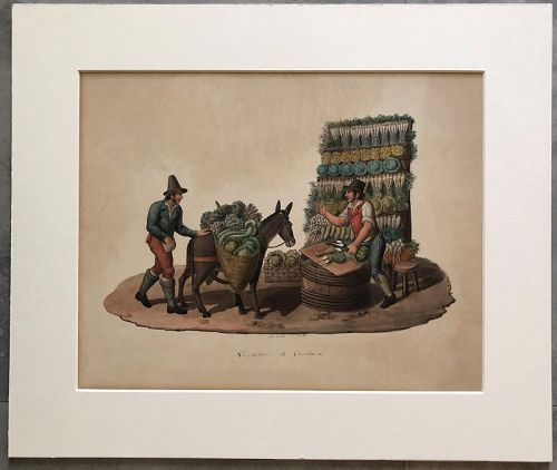 Watercolor of a vegetable seller, Naples M. De Vito c. 1850