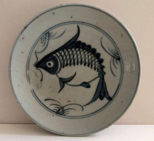 Chinese underglaze blue carp Ming Swatow (Zhangzhou) dish. c.1620