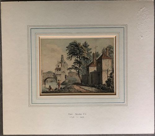 Etching and watercolor of a bridge Shrewsbury Paul Sandby c.1800